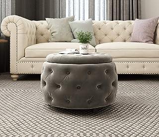 Joveco Storage Ottoman Bench Tufted Velvet Stool for Living Room Toy Chests & Storage Room Organizer (Gray Round Storage Ottoman)