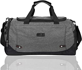 EGOGO Canvas Duffle Bag Gym Luggage Bag Cross Body Tote Bag Weekend Overnight Travel Bag E532-3 (Grey)