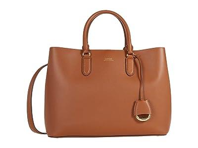 LAUREN Ralph Lauren Dryden Marcy Satchel Large (Lauren Tan/Monarch Orange) Satchel Handbags