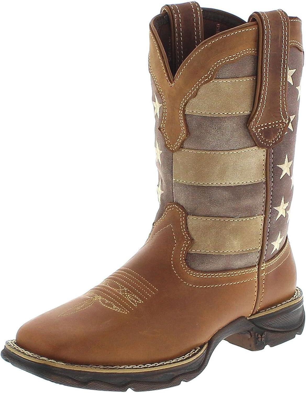 FB Fashion Stiefel Durango Stiefel Lady Rebel DRD0107 braun Damen Westernreitstiefel Braun Westernstiefel mit Stars und Stripes Motiv