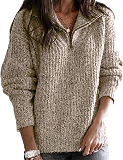 Womens Casual Lapel Pullover Zipper Long Sleeve Warm Outwear Sweater