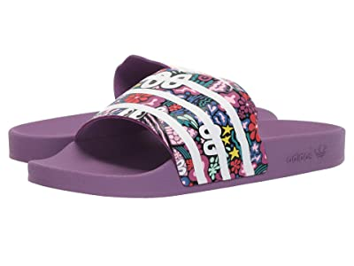 adidas Adilette Slide (Core Black/Footwear White/Active Red) Women
