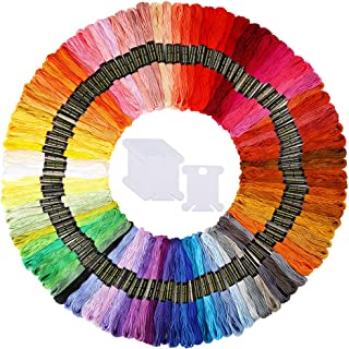 Caydo 100 Skeins Embroidery Floss, Rainbow Color Friendship Bracelets Floss with 12 Pieces Floss Bobbins
