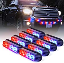 Xprite Red & Blue 4 LED 4 Watt Emergency Vehicle Waterproof Surface Mount Deck Dash Grille Strobe Light Warning Police Light Head with Clear Lens - 8 Pieces
