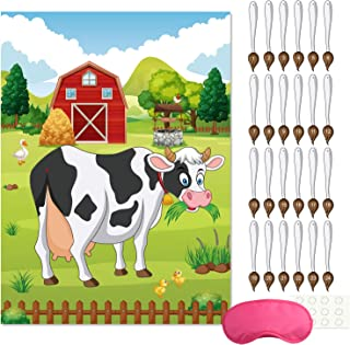 FEPITO Pin the Tail on the Cow Birthday Party Game with 24 Pcs Tails for Farm Party Decorations, Kids Birthday Party Decor...