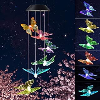 JOBOSI Wind Chimes,Clear Butterfly Wind Chimes,Wind Chimes Outdoor/Indoor,Garden Decor,Room Decor, Gifts for mom, Mother`s Birthday Gifts, Butterfly Gift