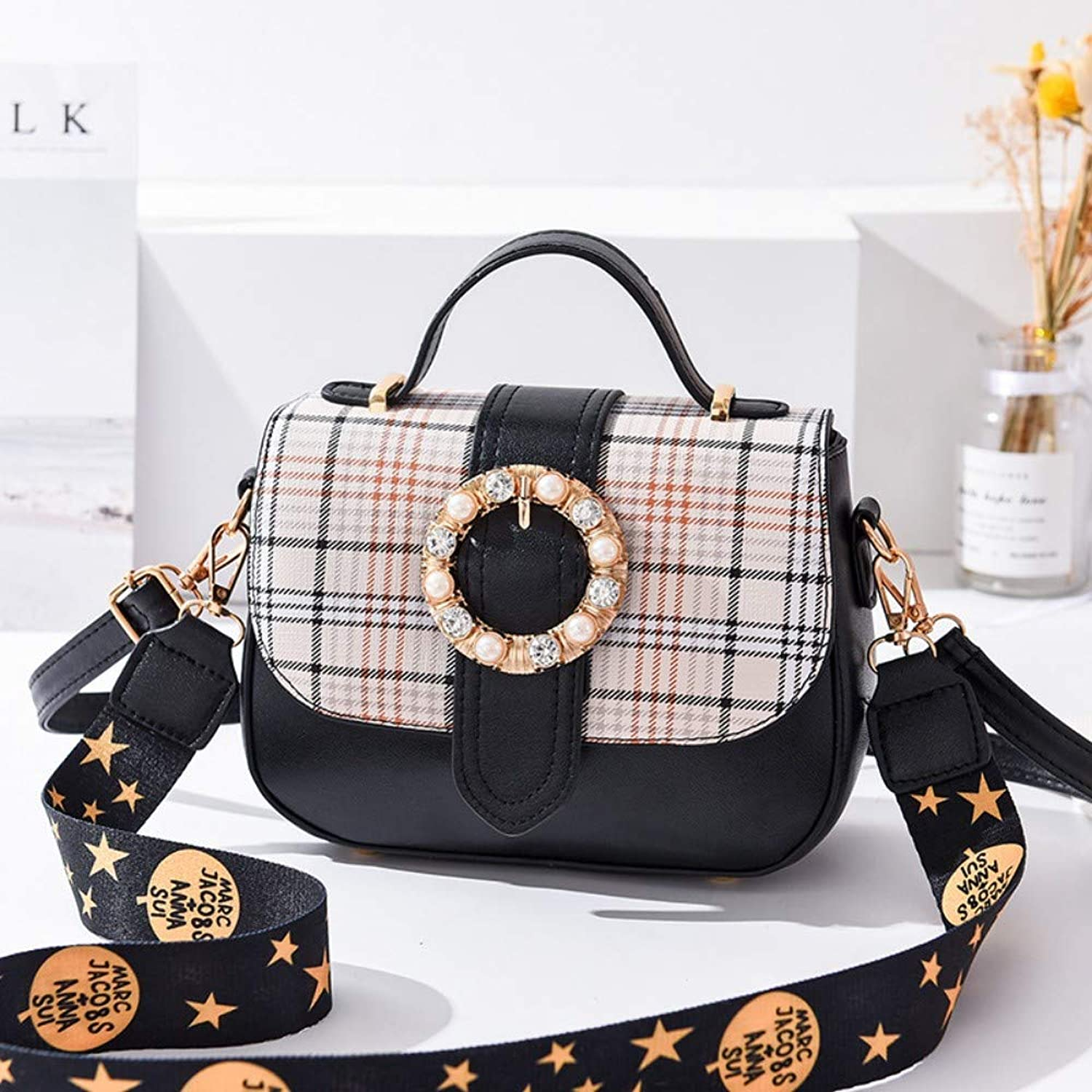 Women Shoulder Bag,Ladies Handbags Crossbody Bag,Fashion Plaid Vintage Printing Wide Strap Messenger Bags,Female Classic Small Square Bag Balck