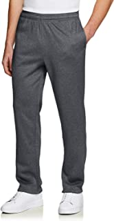 TSLA Men's Fleece Yoga Sweatpants Open Bottom Straight Leg/Jogger Running Casual Loose Fit Athletic Pants with Pockets