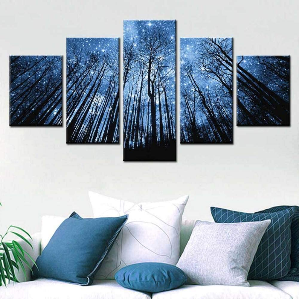 vbewuvbiewv 5pcs Abstract Forest Blue Art Star Wall excellence Hom Milwaukee Mall Pictures