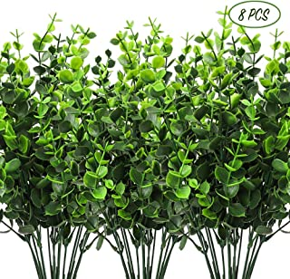CEWOR 8pcs Artificial Greenery Plants, Fake Plastic Boxwood Shrubs for Wedding, Courtyard, Indoor and Outdoor Decoration