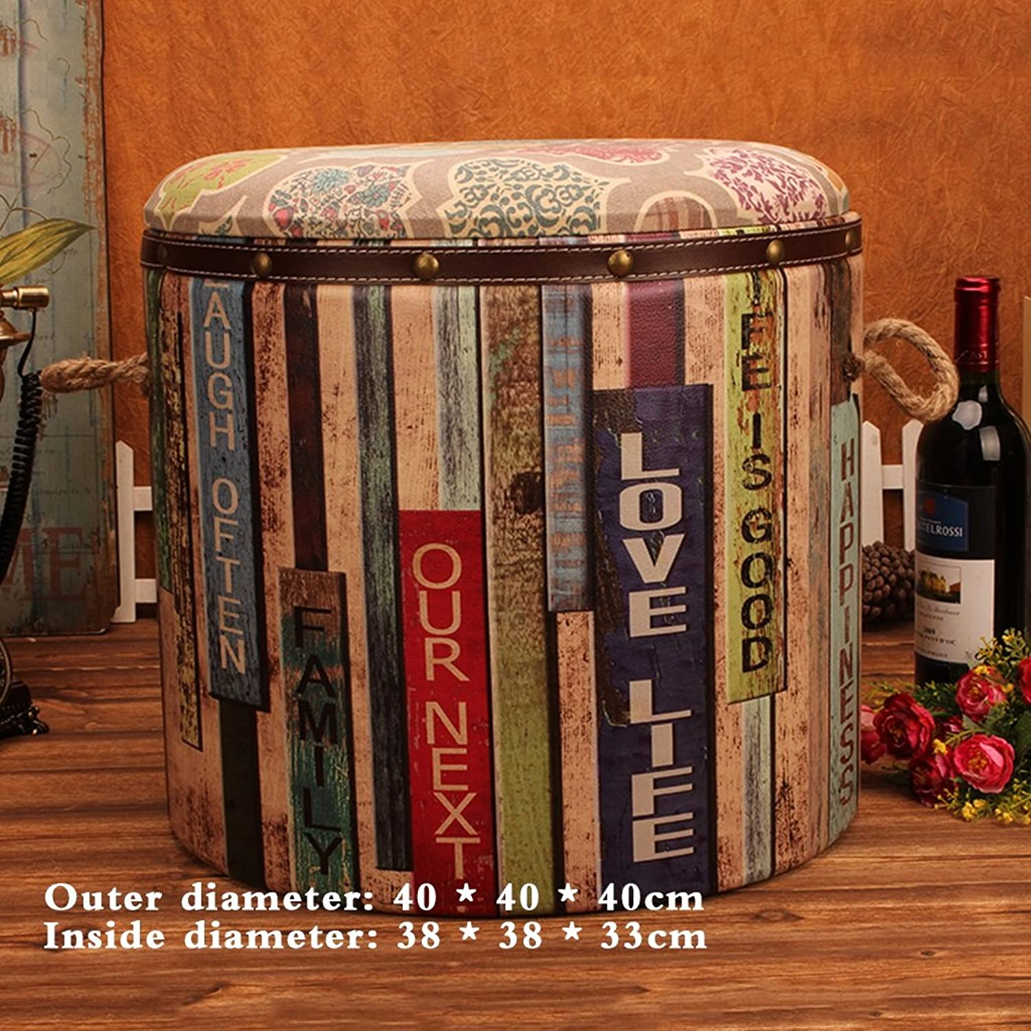 Stools Single retro round European storage for shoes fashion American-style sofa (Size   40  40  40cm)