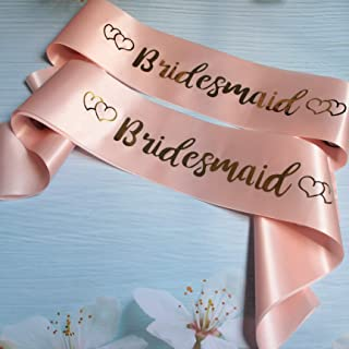Bridesmaid Sash for Bachelorette Bridal Shower Hens Night Party - Champagne Pink Sash with Gold Lettering, Party Supplies Favors Gift from Bride to Be - 2 Pack