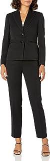 NINE WEST Women's 2 Button Peak Lapel Pinstripe Pant Suit