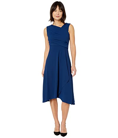 Adrianna Papell Soft Draped A-Line Dress (Navy) Women