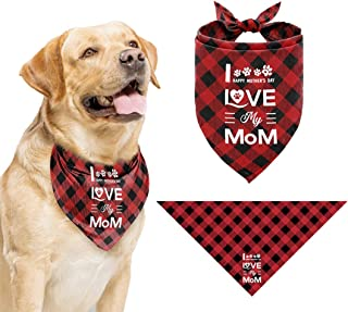 Funny Beautiful Printed I Love My Mom Dog Bandana, Happy Mother's Day Dog Bandana, Gift for Dog Lover Mom Party, Pet Scarf...