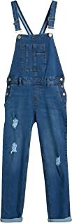 WallFlower Jeans Girls' Overalls - Stretch Denim Cuffed Overalls with Adjustable Straps