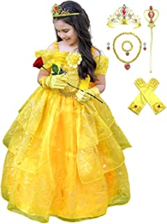 Romy's Collection Girls Deluxe Yellow Belle Dress up Gown Costume w/Accessories