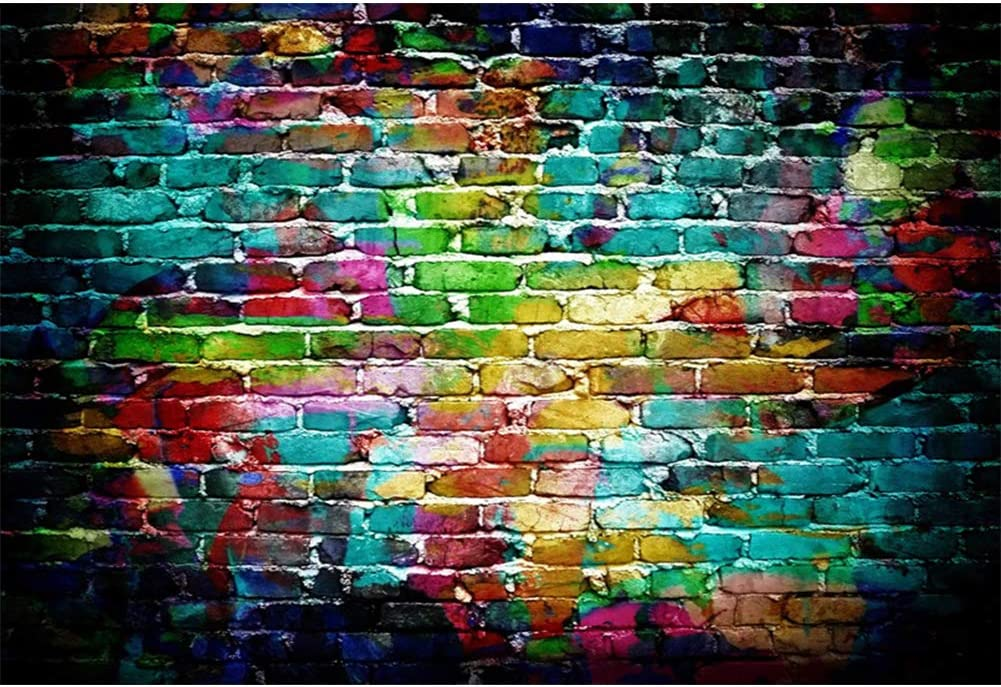 Laeacco 8x8ft Colorful Brick Wall Photography Backdrop Abstract Painted Graffiti Brick Wall Backdrop for 80s 90s Hip Hop Disco Birthday Wedding Graduation Themed Party Banner Child Adult Portrait