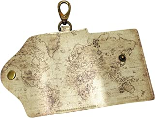 DEYYA Cartoon Kids World Map Leather Key Case Wallets Unisex Keychain Key Holder with 6 Hooks Snap Closure