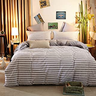JUWENIN,1500 Thread Count Egyptian Quality Duvet Cover Set Full Queen Size, 3pc Luxury Soft (Twin, Grey Stripe)