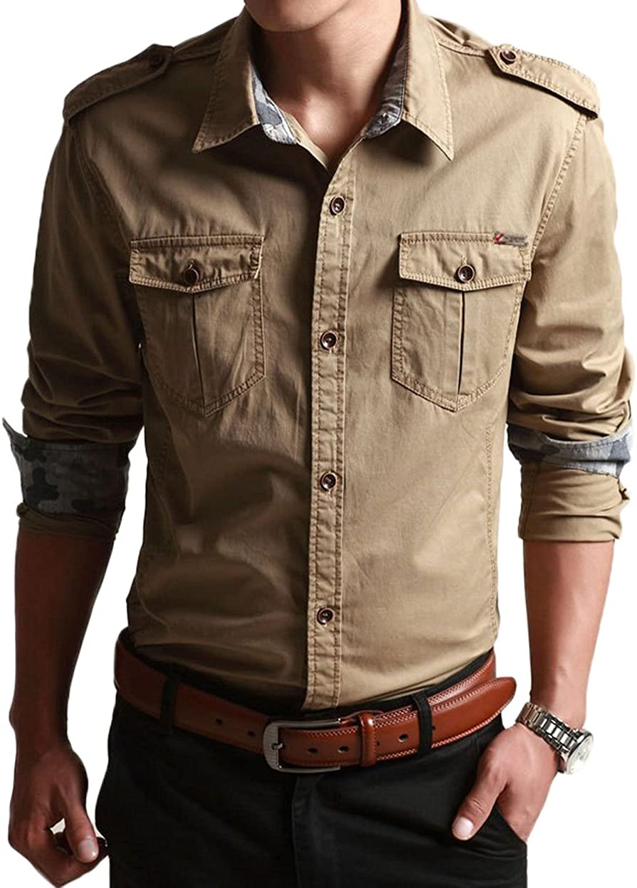 CHARTOU Max 43% OFF Men's Classic Retro Ranking TOP19 Patchwork Lined Camouflage Military