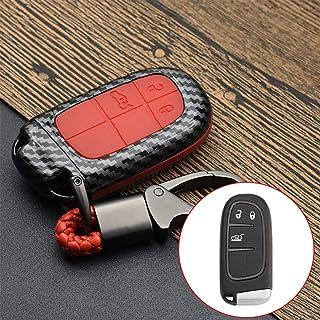 ontto Smart Autoschlüssel Hülle Fall für Jeep Renegade 2014 2015 Grand Cherokee Dodge Chrysler 300C FIAT Schlüsselanhänger Schlüsselhülle Kunststoff TPU 2 5 Tasten Schlüsselbox  Kohlefaser Rot