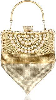 Women's Clutch,VEYIINA NERO Evening Bag Elegant Pearl Shoulder Bag Luxurious Rhinestone Handbag For Wedding Party Banque