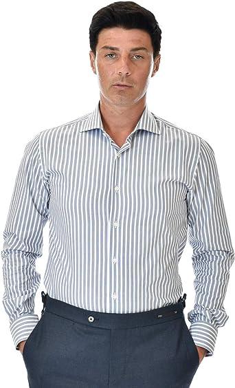 Marcus Camisa de hombre blanca a rayas anchas gris azul ...