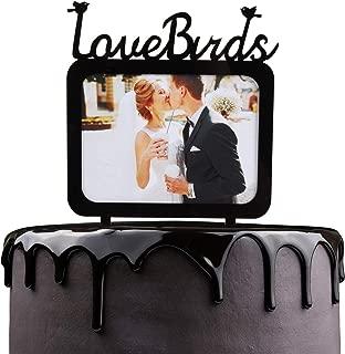 Love Birds Wedding Cake Topper - Wedding Anniversary Honeymoon Photo Frame Cake Picks Décor - Couple Engagement Bridal Shower Party Decoration