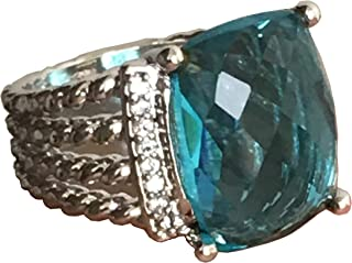 Designer Inspired Twisted Cable 16x12mm Blue Topaz Cushion Ring Size 7, 9
