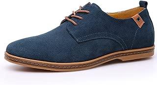 Colorful Dream- Cow Suede Leather Shoes Men 2018 Fashion Men Casual Shoes Oxfords Shoes for Students Black Plus Size 38-48