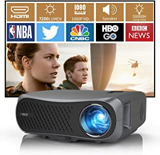 Movie Gaming Projector 1080P Native, 2020 Full HD 1080P LED Projector 5500 Lumens with HDMI USB Inputs ZOOM Keystone 1920x...