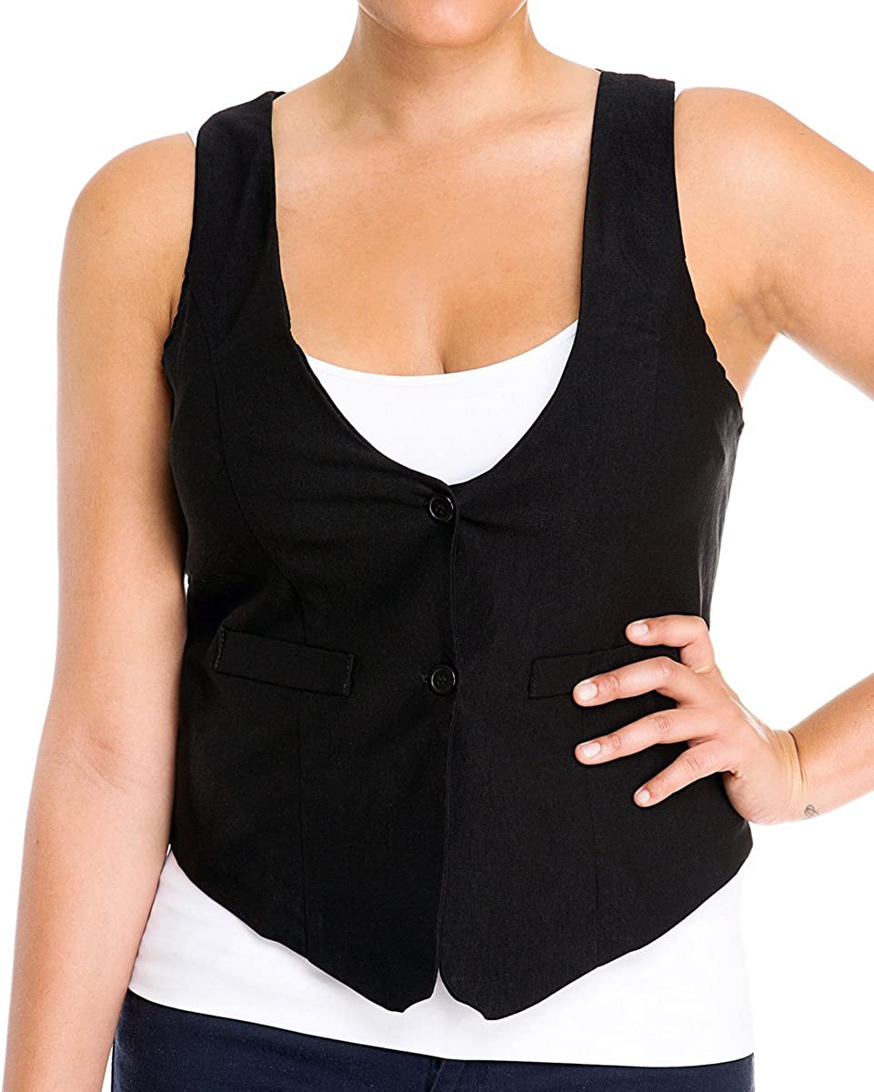 eVogues Black Button Front Sleeveless Vest Top