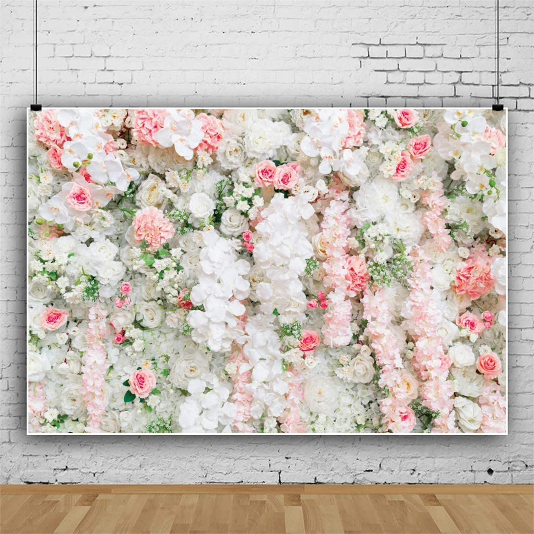 Leyiyi 7x5ft Floral Wall Backdrop White and Pink Rose Green Leaves Timbo Flowers Photography Background Bridal Shower Dessert Table Romantic Anniversary Marriage Photo Wallpaper Studio Props