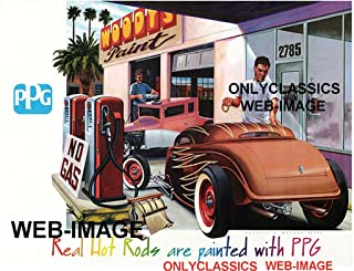 OnlyClassics PPG Poster-HOT Rod at Gas Station WOODY'S Paint Shop AUTOMOBILIA Street Rat Rod