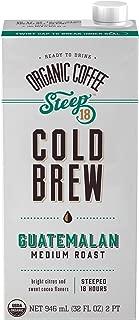 Steep 18 Organic Guatamalan Medium Roast Cold Brew Coffee, 32 Fluid Ounce - 6 per case.