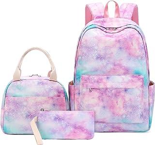 مجموعة حقيبة ظهر مدرسية للفتيات المراهقات ثلاث حقائب مدرسية للأطفال مع حقيبة غداء وحقيبة أقلام رصاص حقيبة ظهر كاجوال للسفر