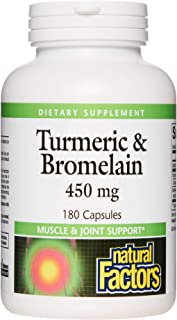 Natural Factors, Turmeric & Bromelain 450 mg, Muscle and Joint Support, 180 Capsules