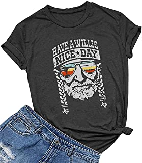 Women's Have a Willie Nice Day Letter Print Graphic T-Shirt Short Sleeve Sunset Shades O-Neck Casual Tee Tops