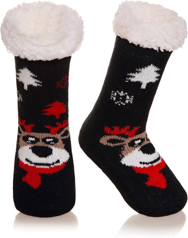 Kids Boy Girls Soft Home Socks Warm Fuzzy Thick Fleece Lined Christmas Stockings For Child Toddler Winter Slipper Socks
