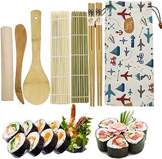 EQLEF Kit Sushi Bambu, 2 X Home Sushi Rolling Mat 2 X Palillos 1X Rodillo 1X Cuchillo de Madera 1X Cuchara de arroz de bambú 1X Bolsa de Tela Adorable (8 Piezas)