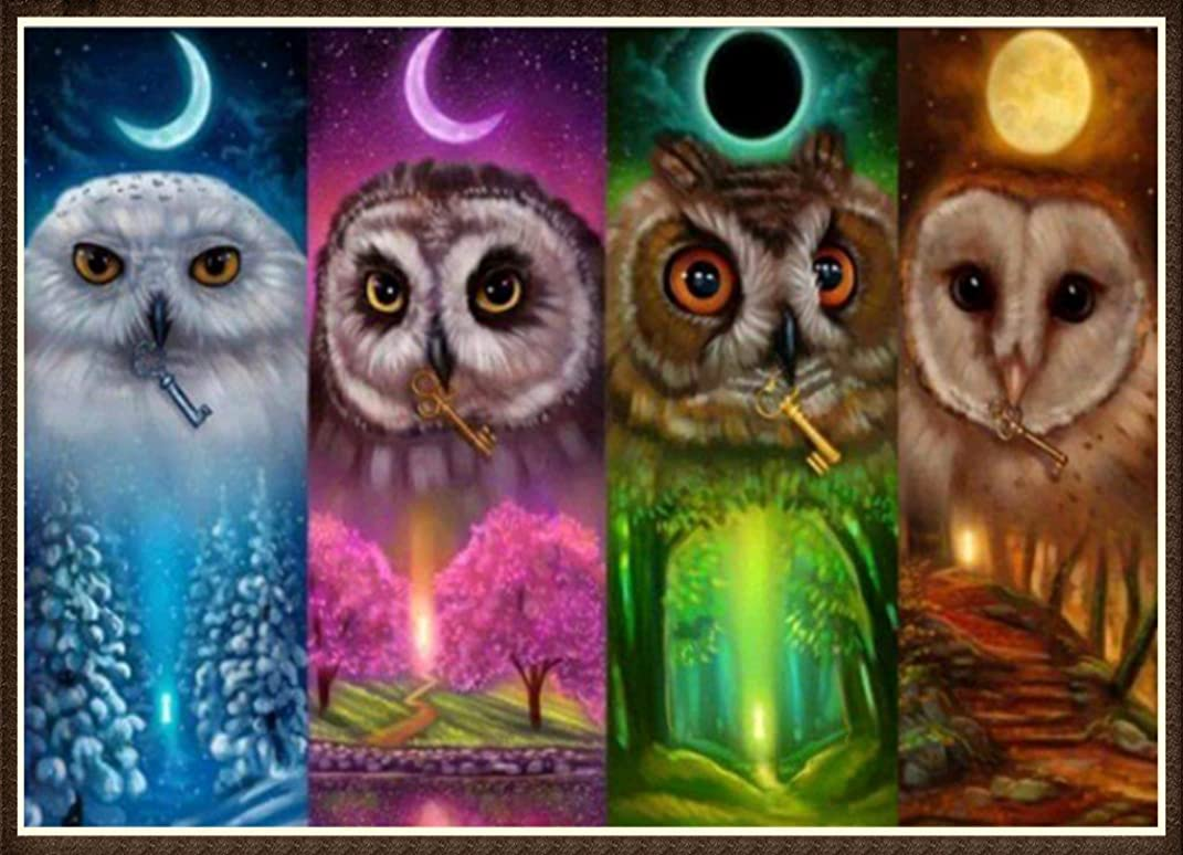 DIY 5D Diamond Painting by Number Kits Crystal Rhinestone Diamond Embroidery Paintings Pictures Arts Craft for Home Wall Decor (Season Owl,Frame Excluded)