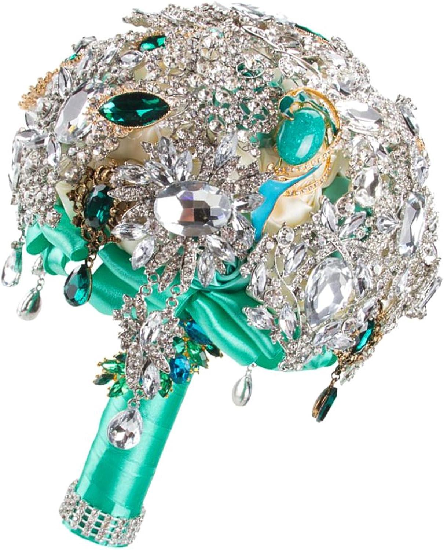 MagiDeal Bling Artificial Rhinestone Crystal Wedding Bridal Bouquet Hand Tied Flower