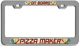 Makoroni - Pizza Maker ON Board Career Chrome Steel License Plate Frame 3D Style, License Tag Holder