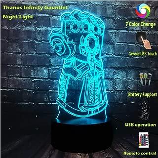 Jinlycoo Infinity Gauntlet LED Illusion RGB Thanos Hand Six Diamond Movie Marvel Avengers Infinity War Cartoon 7 Color USB Change Lava Table Mood Night Lamp Boyfriends Gift Kid Toy(Thanos Hand)