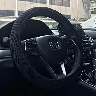 KAFEEK Steering Wheel Cover, Universal 15 inch, Microfiber Breathable Ice Silk, Anti-Slip, Odorless, Easy Carry, Black