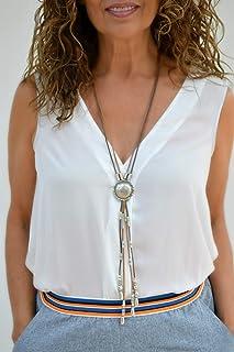 Lunga collana in cuoio stile cravatta bolo tie per le donne