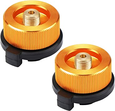 Coolty 2PCS Boquilla Conector Adaptador De Transferencia para Botella Gas Hornilla Estufa de Camping al Aire Libre (2 PCS,Naranja)