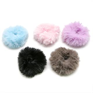 WSSROGY Set of 12 Pieces Mix Colors Fuzzy Furry Artificial Rabbit Fur Hair Band Rope Cute Fur Hair Ponytail Holder Wristband Hair Ring