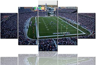 Sports Wall Decor Gillette Stadium Pictures for Living Room Super Bowl Champs Paintings NFL Wall Art 5 Panel Canvas Modern Artwork Home Decorations Framed Gallery-Wrapped Ready to Hang (60''Wx32''H)